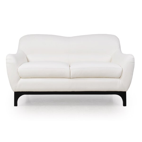 Kasia Mid-Century Leather Loveseat by Brayden Studio