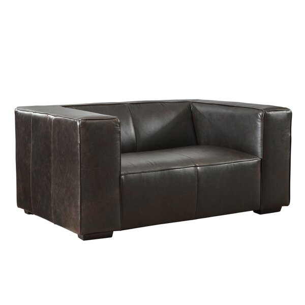 Price Comparisons Denis Leather Loveseat by Latitude Run by Latitude Run