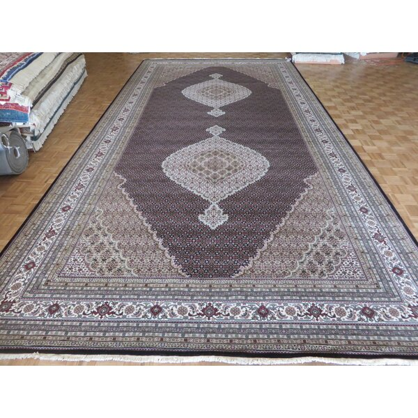One-of-a-Kind Raiden Hand-Knotted Black Area Rug by Astoria Grand