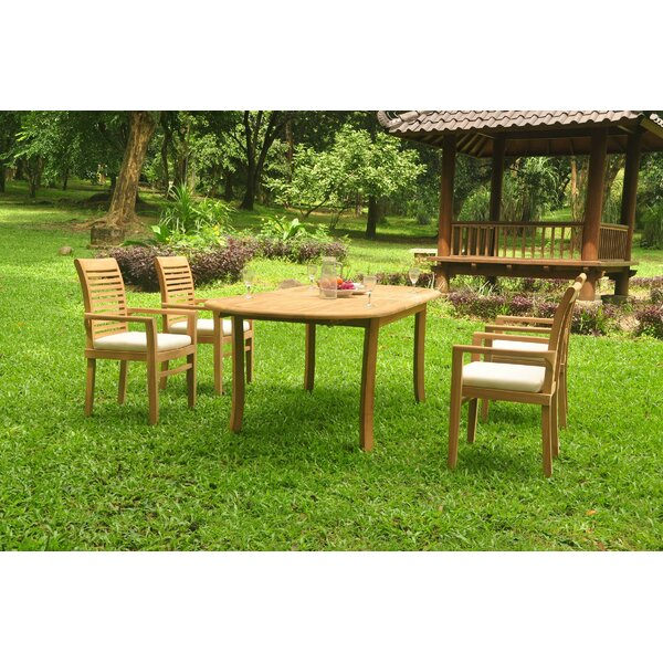 Illman 5 Piece Teak Dining Set by Rosecliff Heights