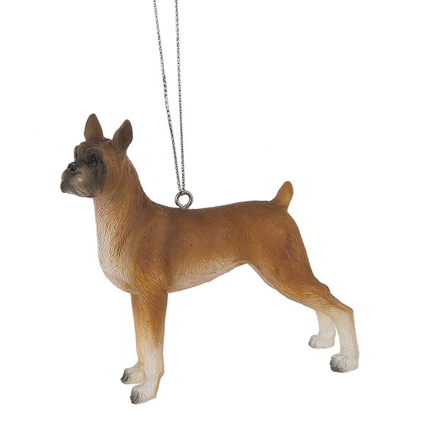 Boxer Dog Hanging Figurine by The Holiday Aisle