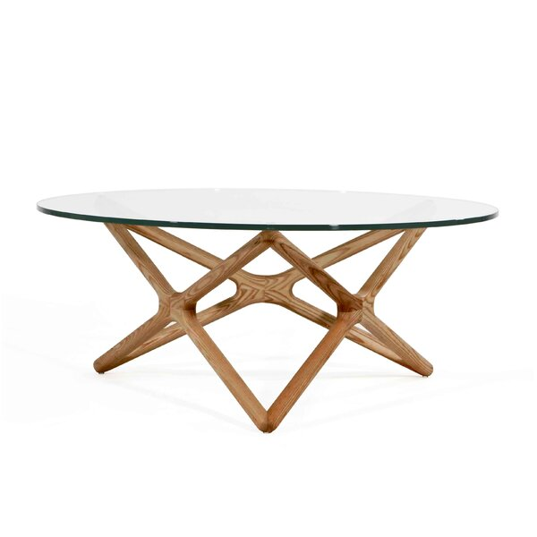 Alamo Coffee Table with Glass Top and Ash Stained by Foundry Select