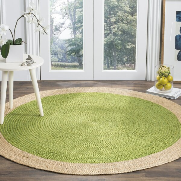 Cayla Fiber Hand-Woven Green/Natural Area Rug by Beachcrest Home