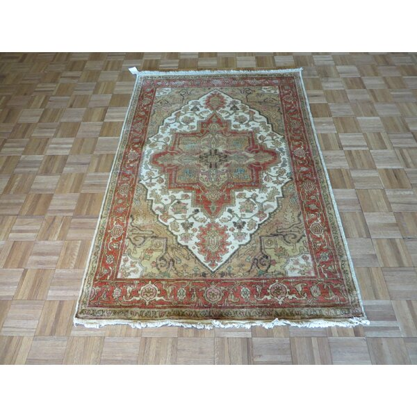 One-of-a-Kind Elbridge Antiqued Serapi Heriz Hand-Knotted Ivory Area Rug by Red Barrel Studio
