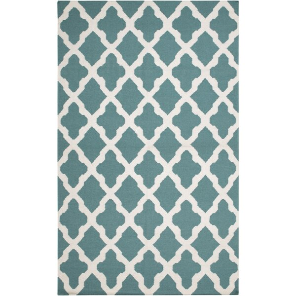 Bangor Teal Geometric Area Rug by Ebern Designs