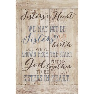 Sisters in Heart… Textual Art Plaque by Dexsa