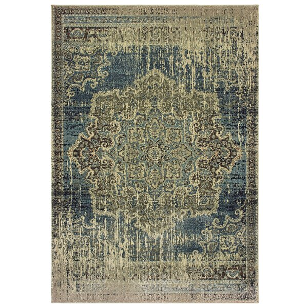Diego Distressed Medallion Blue/Ivory Area Rug by World Menagerie