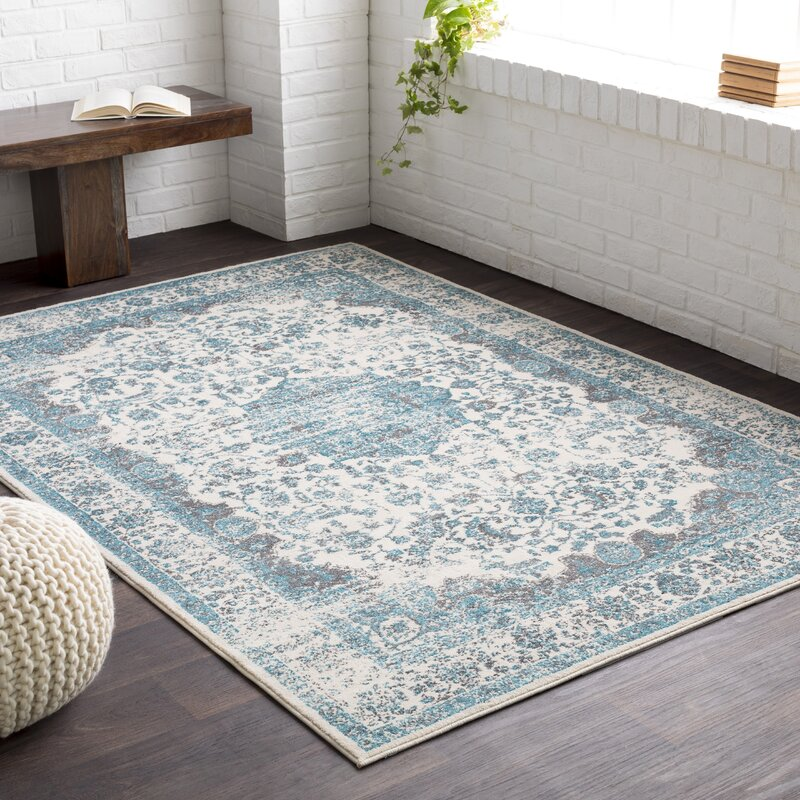 Astoria Grand Barlett Medium Gray/Teal Area Rug & Reviews