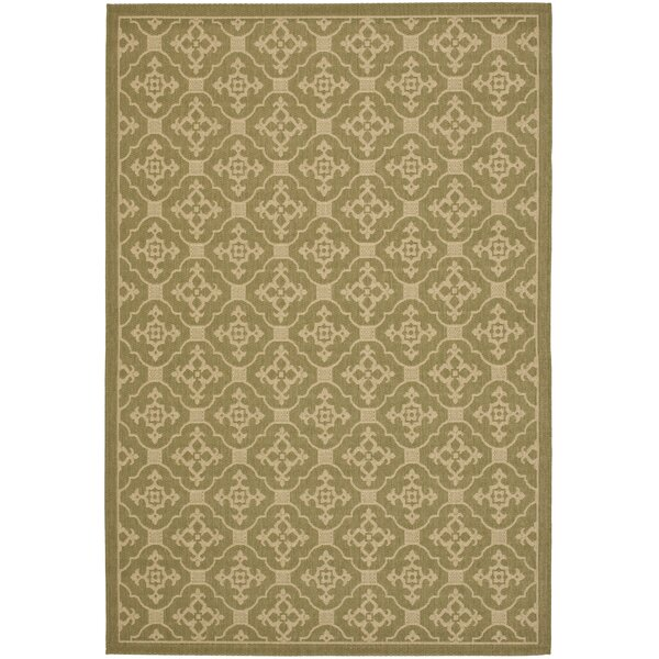 Short Olive / Creme Outdoor Area Rug by Winston Porter