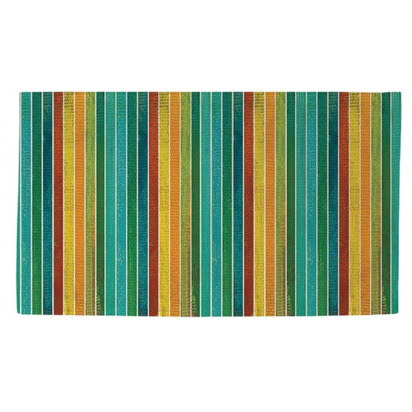 Aqua Bloom Stripes Area Rug by Manual Woodworkers & Weavers