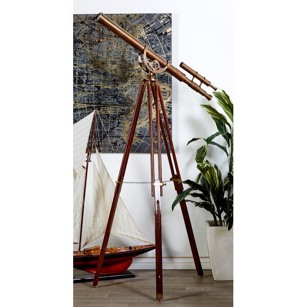 Decorative Brass Wood Telescope by Brayden Studio