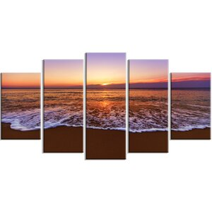 'Orange Tinged Sea Waters at Sunset' 5 Piece Wall Art on Wrapped Canvas Set by Design Art