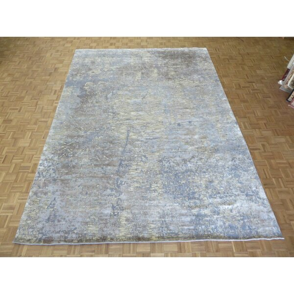 One-of-a-Kind Padang Sidempuan Modern Hand-Knotted Wool White/Blue Area Rug by Bloomsbury Market