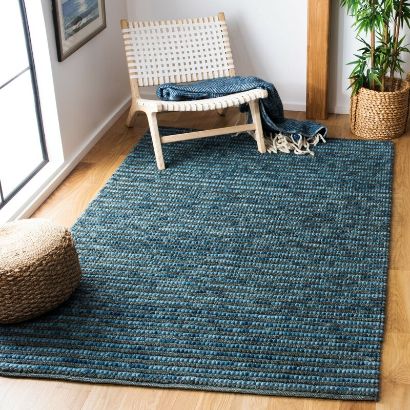 Hand Knotted Wool Dark Blue Area Rug