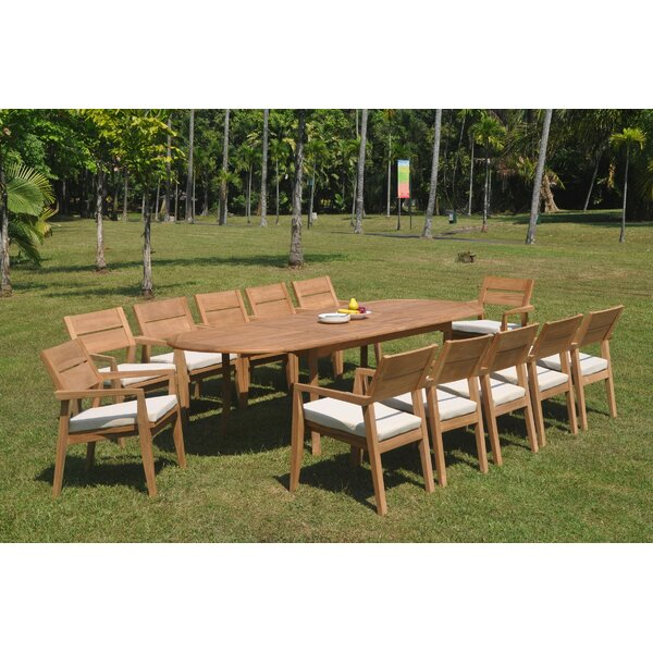 Cushman 13 Piece Teak Dining Set by Rosecliff Heights