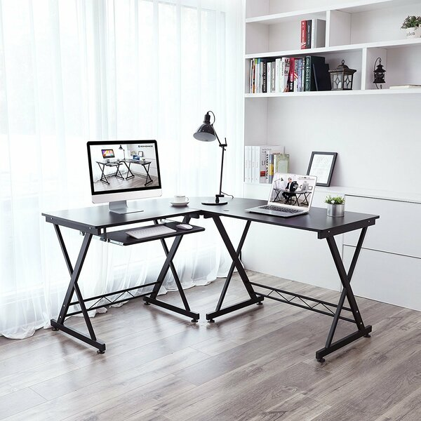 Everette L-Shaped Large Corner Workstation Writing Desk by Rebrilliant