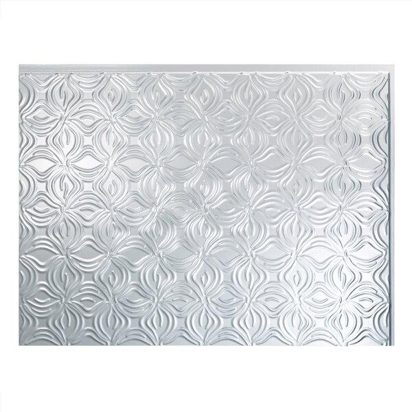 Lotus 1.5 ft. x 2 ft. PVC Backsplash Panel in Brushed Aluminum by Fasade