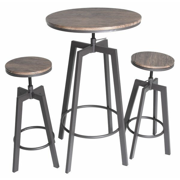 Hoskins Round Wood Top Metal Bar Bistro 3 Piece Adjustable Pub Table Set by Ebern Designs