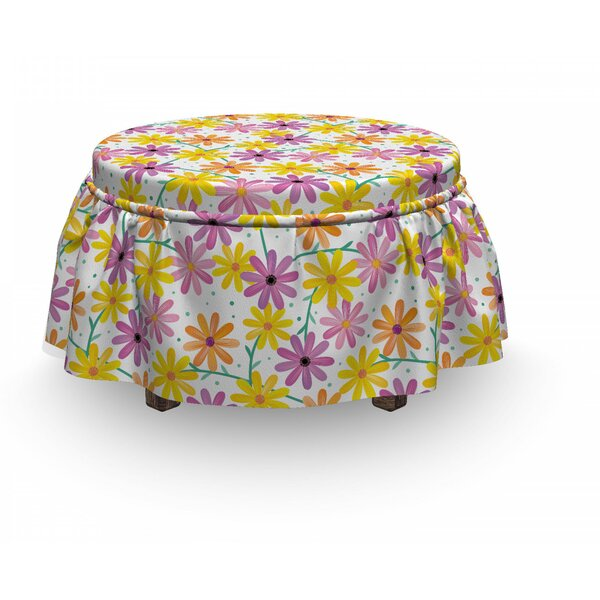 Gerbera Daisies Ottoman Slipcover (Set Of 2) By East Urban Home