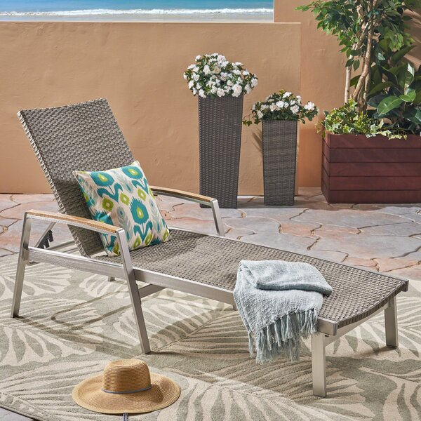 Vanhorn Outdoor Reclining Chaise Lounge by Ebern Designs Ebern Designs