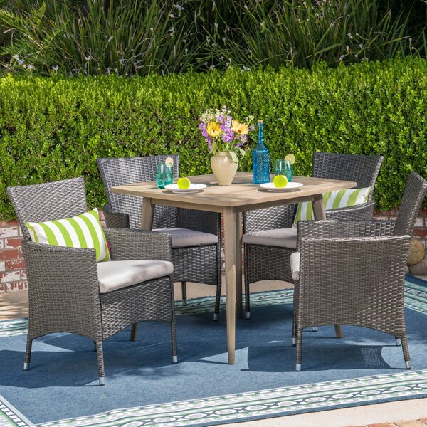Kampmann 5 Piece Dining Set with Cushions by Winston Porter