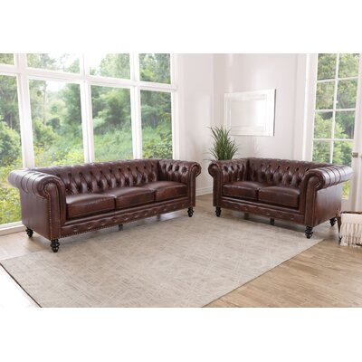 House Of Hampton Wells Leather Living Room Set Living Room Sets