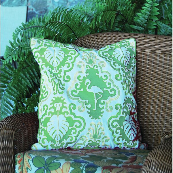 I Sea Life Outdoor Sunbrella Flamingo Throw Pillow by Rightside Design