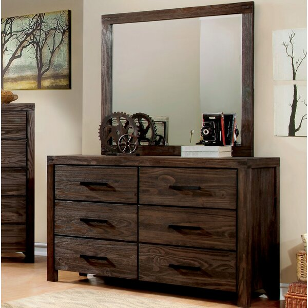 Kensett 6 Drawer Double Dresser with Mirror by Loon Peak