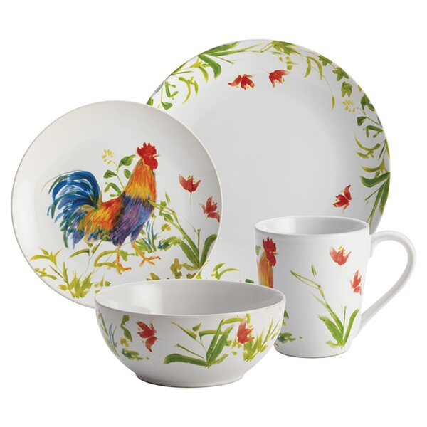 Rooster 16 Piece Dinnerware Set, Service for 4 by BonJour