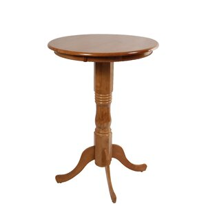 Amundson Round Fruitwood Pub Table by Alcott Hill