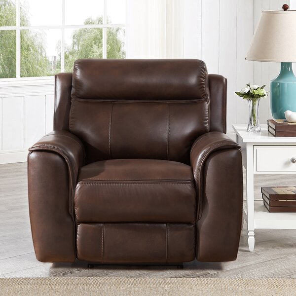 Gurley Leather Power Recliner By Red Barrel Studio