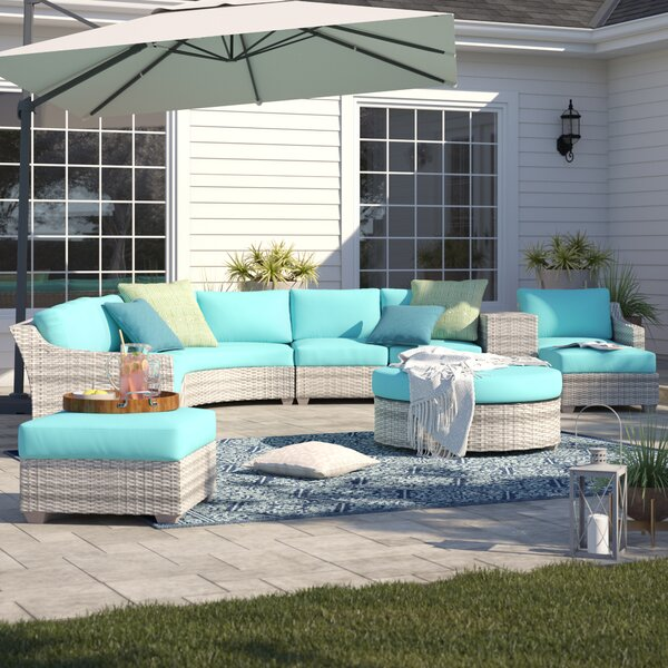 Falmouth 11 Piece Rattan Sectional Seating Group with Cushions by Sol 72 Outdoor
