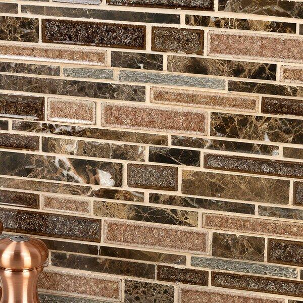 Olive Branch Random Sized Mixed Material Mosaic Tile in Dark Roast by Splashback Tile