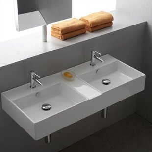 Compare prices Teorema Ceramic 42 Wall Mount Bathroom Sink with Overflow By Scarabeo by Nameeks