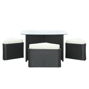 Hub 5 Piece Dining Set with Cushions ByModway