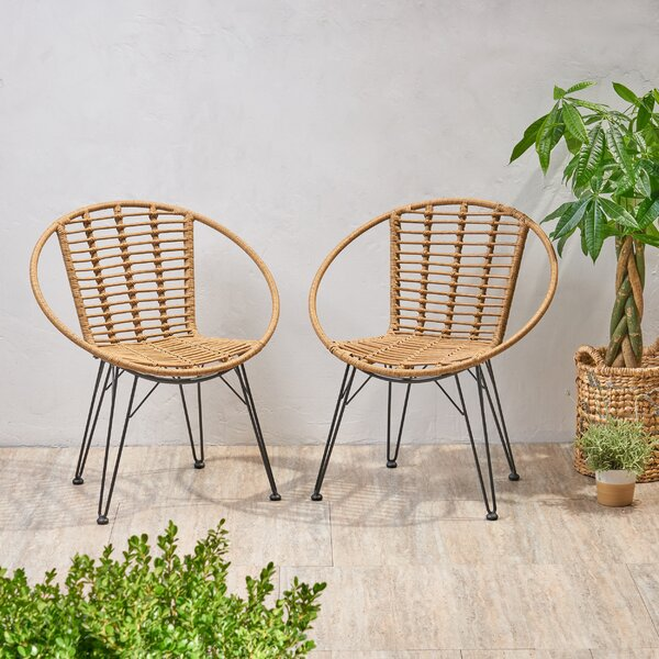 Tarawa Wicker Patio Dining Chair (Set of 2) by Bungalow Rose