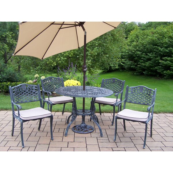 Robertsdale 6 Piece Dining set with Cushions and Umbrella by Fleur De Lis Living