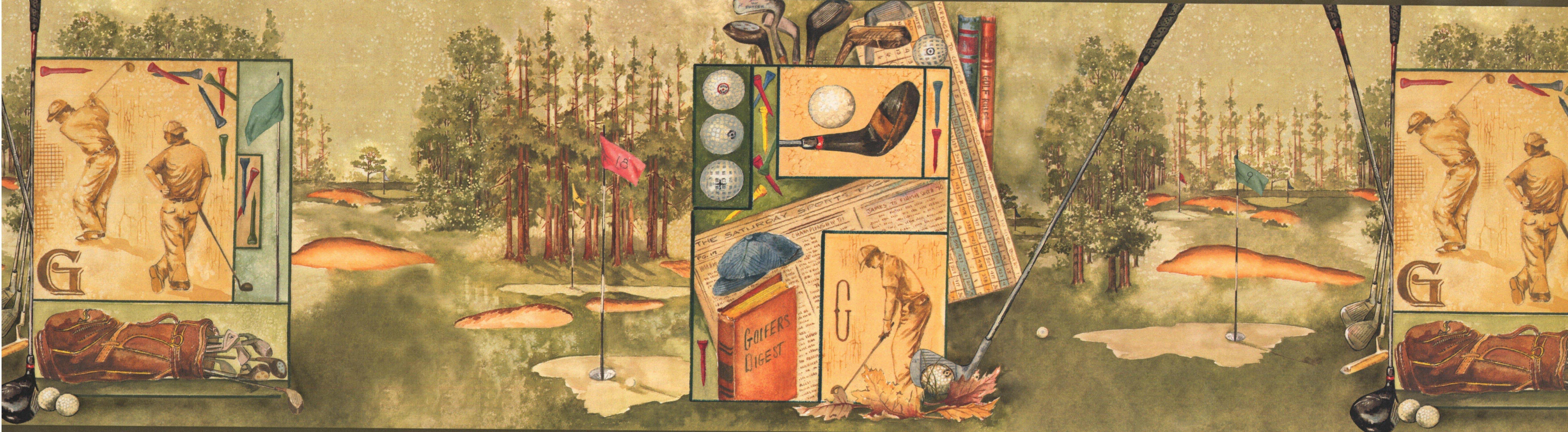 York Wallcoverings Vintage Golf Faux Paint Sports Retro Design 15 L X 7 W Wallpaper Border