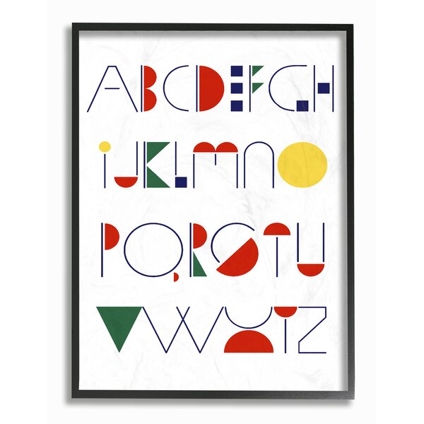 Graphic Alphabet Primary Colors Oversized Framed Giclee Texturized Art by Stupell Industries