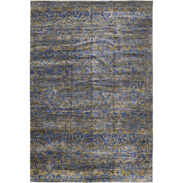 One-of-a-Kind Marcucci Hand-Knotted Wool Gray/Blue Indoor Area Rug by Bloomsbury Market