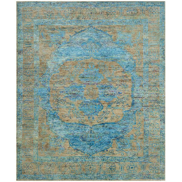 Elise Hand-Knotted Teal/Beige Area Rug by Bloomsbury Market