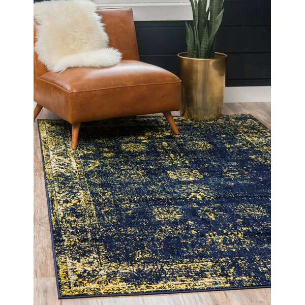 Brandt Navy Blue/Yellow Area Rug by Mistana