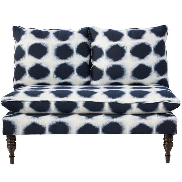 Chesterman Abels Armless Love Seat in Indo Indigo by Bungalow Rose