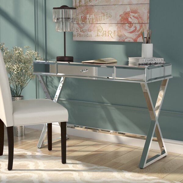 Adina Campaign Glass Writing Desk by Willa Arlo Interiors