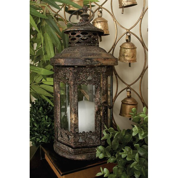 Metal/Glass Lantern by Bungalow Rose