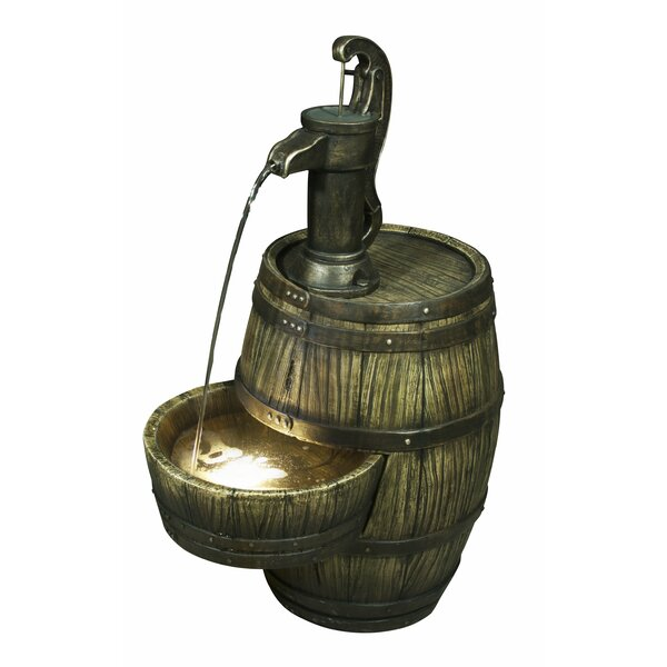 Resin Barrel with Hand Pump Fountain with Light by Hi-Line Gift Ltd.