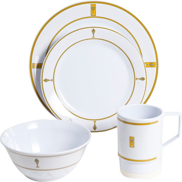 Decorated Melamine Fish 24 Piece Dinnerware Set, Service for 6 by Galleyware Company