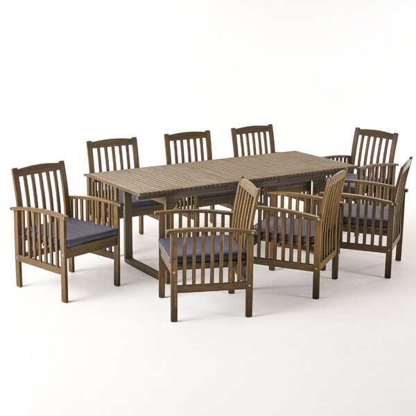 Daliah 9 Piece Dining Set with Cushions