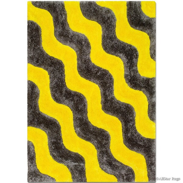 Hand-Tufted Yellow/Black Area Rug by AllStar Rugs
