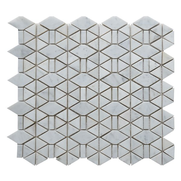Carrara Honed Triangle Random Sized Marble Mosaic Tile in White by Matrix Stone USA